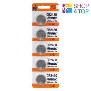 5-VINNIC-CR2430-LITHIUM-BATTERIES-3V-CELL-COIN-BUTTON-EXP-2023-NO-MERCURY-NEW