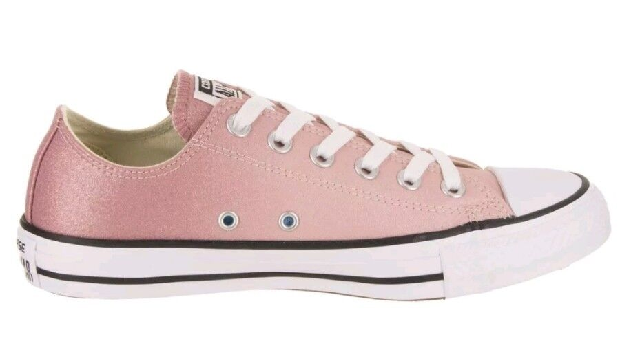 Converse Niñas Rosa Low Top Brillo Con Cordones Zapatillas