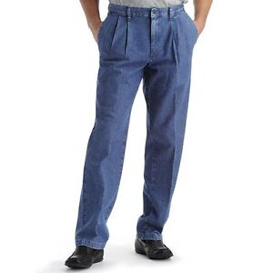 d5b17a64 Lee Mens Jeans Stain Resist Pant Relaxed Fit Pleated Dark Stonewash ...