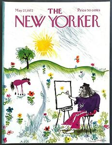 1972-Hippie-Artist-painting-Landscape-May-27-New-Yorker-Magazine-COVER-ONLY