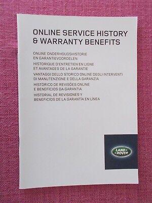 (2014) Land Rover Servizio Online Storia E Sulla Garanzia Benefici Manuale. Acq 6749-