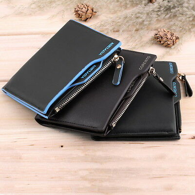 Men's Faux Leather ID credit Card holder Bifold Coin Purse Wallet Pockets FE