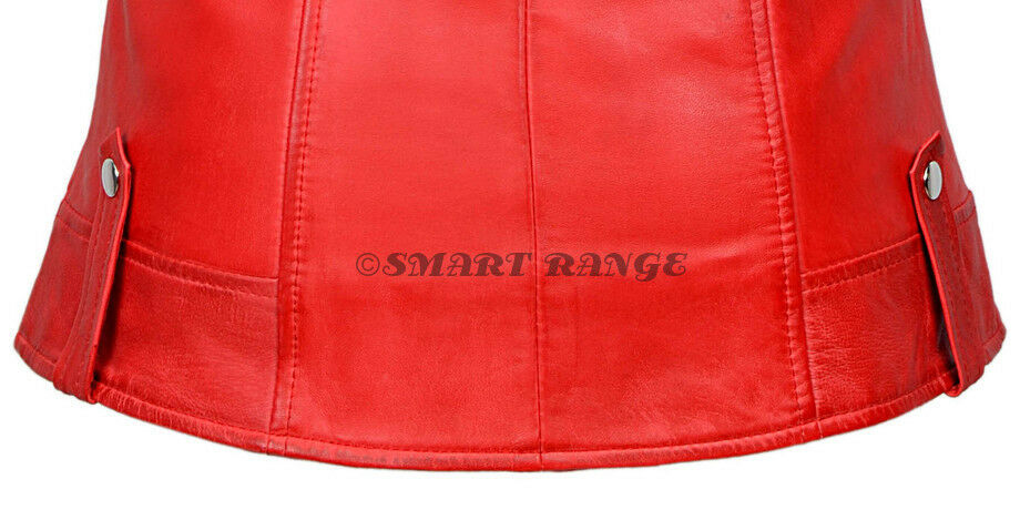 Ladies Leather Waistcoat Waistcoat Waistcoat RED Motorcycle Biker Style Steam Punk REAL NAPA 6385 6dc1cf