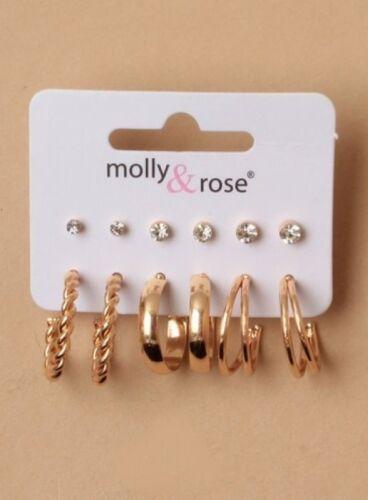 Hoop Earrings Studs Silver Gold 6 Pair on Card Jewellery Ladies