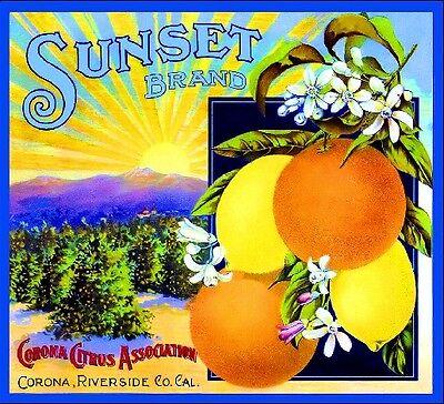 Corona Sunset #1 Orange Citrus Fruit Crate Label Art Print