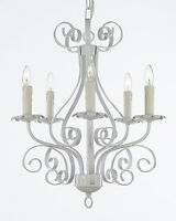 Wrought Iron Chandelier Lighting Country French White Tole Ceiling Fixture