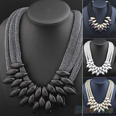 Womens Ethnic Braided Retro Statement Collar Choker Clavicle Necklace Pendant