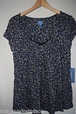 NWT Simply Vera Wang Womens PJs Pajama Top Floral Black White Sleep Night S NEW