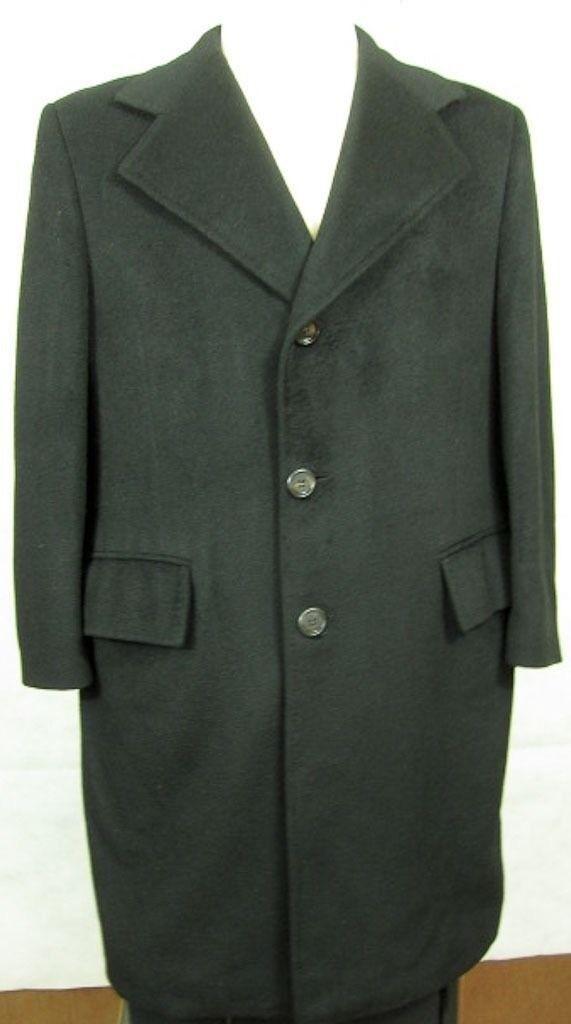 Vintage Broadcrest Ropa Grueso black 100% Cachemira Hecho a Mano Abrigo 42r