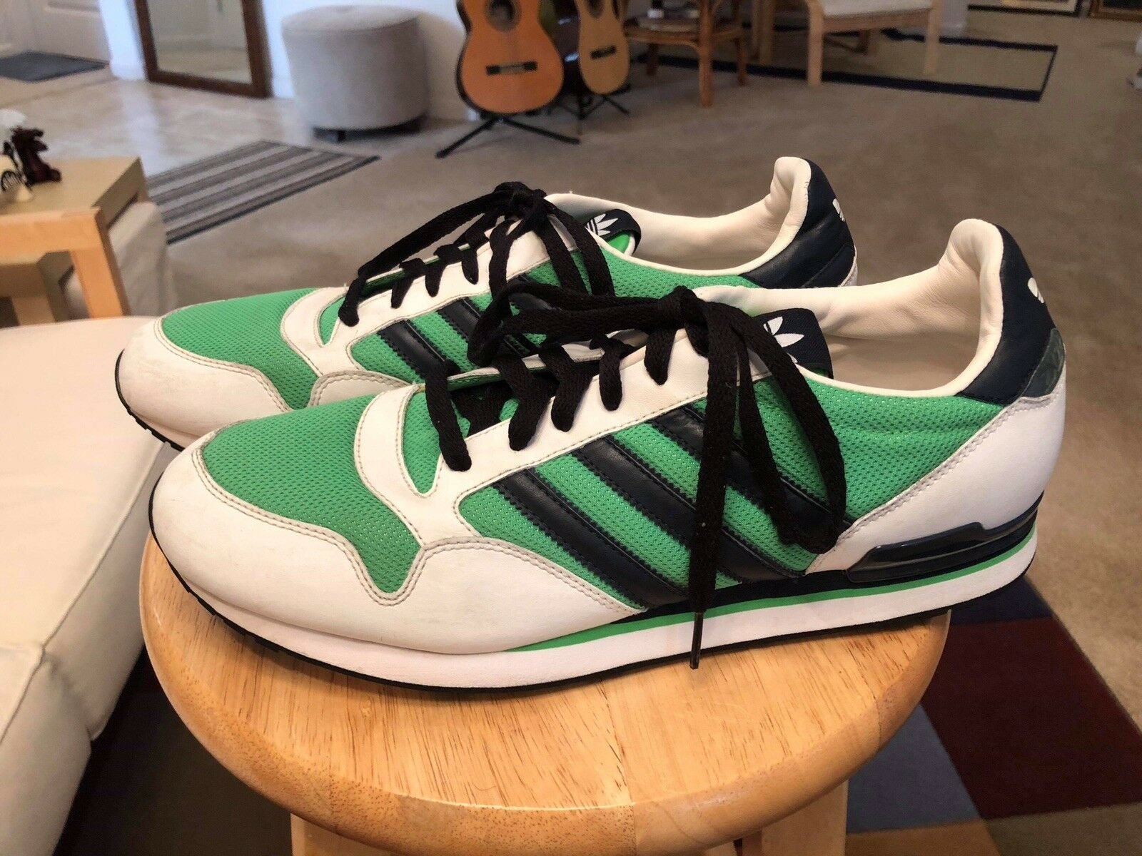 Adidas 661279 Green White bluee Men's US12 Leather Athletic Sneakers shoes