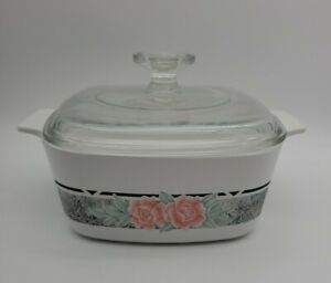 CORNING WARE SILK AND ROSES 1.5L. CASSEROLE DISH A-1 1/2-B W/ PYREX LID A7C