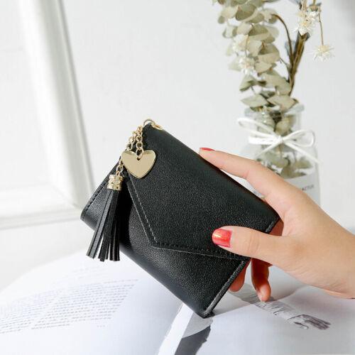 Donna Busta Pieghevole Mini Piccolo Portafoglio Nappa Porta Carte Pochette Borsa