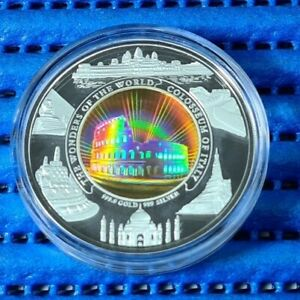 2006-7-Cambodia-10000-Riels-Colosseum-of-Italy-Hologram-Gold-amp-Silver-Proof-Coin