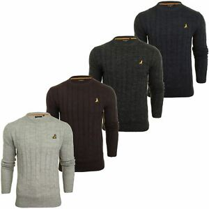 Brave-Soul-039-Maoism-039-Mens-Cable-Knit-Jumper