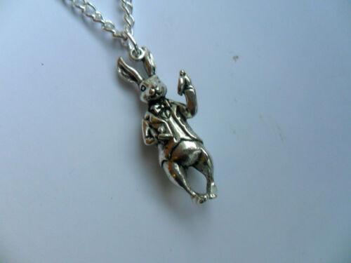 Unusual Alice in Wonderland Silver Rabbit  Necklace   a