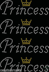 4x-Princess-Small-Crown-Iron-On-Rhinestone-Transfer-Crystal-t-shirt-applique