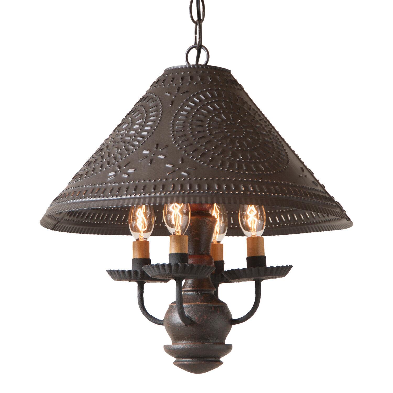 Irvin S 4 Arm Wood Homespun Shade Light