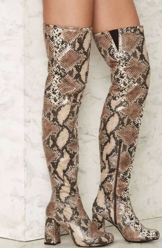 Shellys London Kay Snake Print Embass Thigh High Tall stivali  Dimensione EU 36  prendi l'ultimo