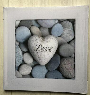 GREY WHITE BLUE PEBBLE STONE LOVE HEART CANVAS WALL ART PICTURE STONES BATHROOM