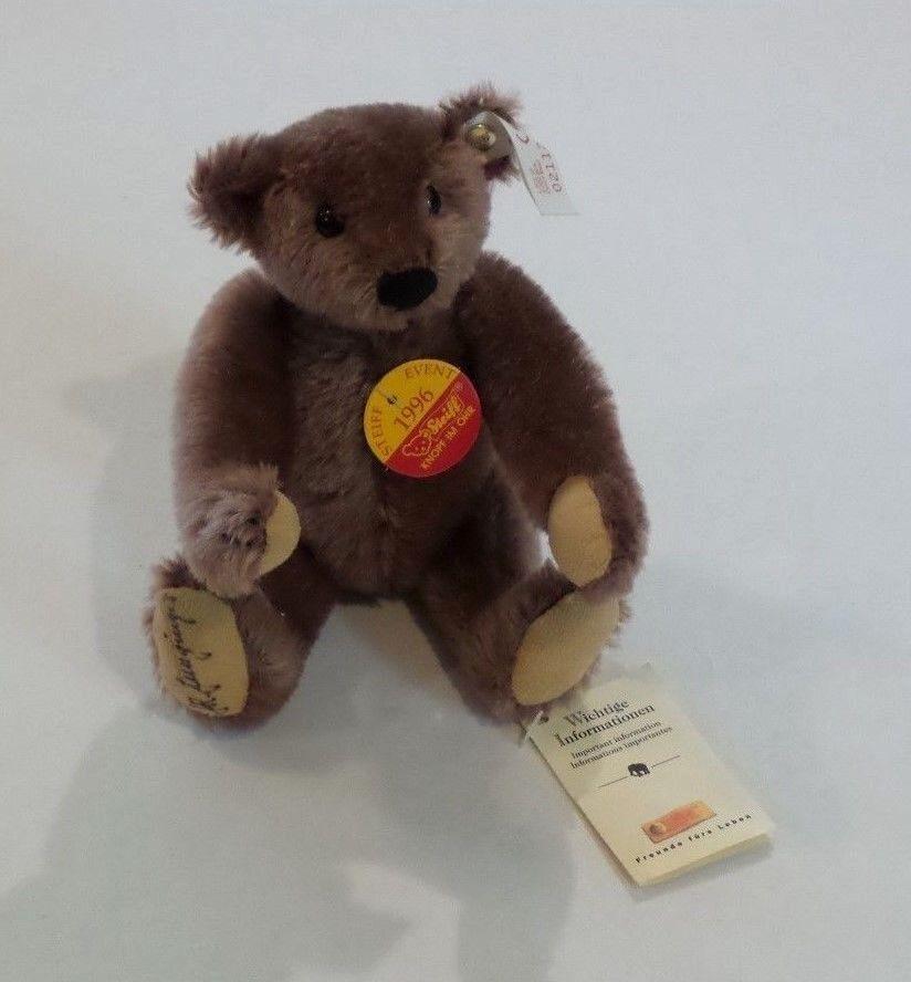 STEIFF 8  BROWN MOHAIR  STEIFF EVENT 1996  TEDDY BEAR, BUTTON, IDs & TAG