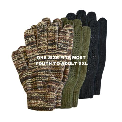3 Pair Quietwear Magic Stretch Gloves Grip Dot Fingers /& Palms Camo Black Olive