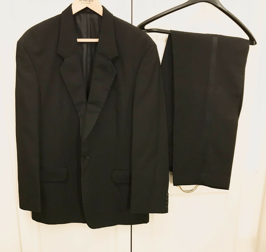 """MOSS BROS Convent Hardens Black Dinner Tuxedo Wool Blend Suit Chest 44"""" W36"""" L32"""