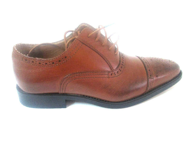 LA Milano Men's Leather Tan Dress shoes Oxford lace up Wing tip A1666