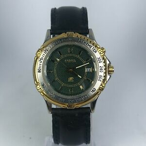 Vintage-Fossil-Mens-Blue-LU-2530-Starmaster-Black-Leather-Band-Quartz-Watch
