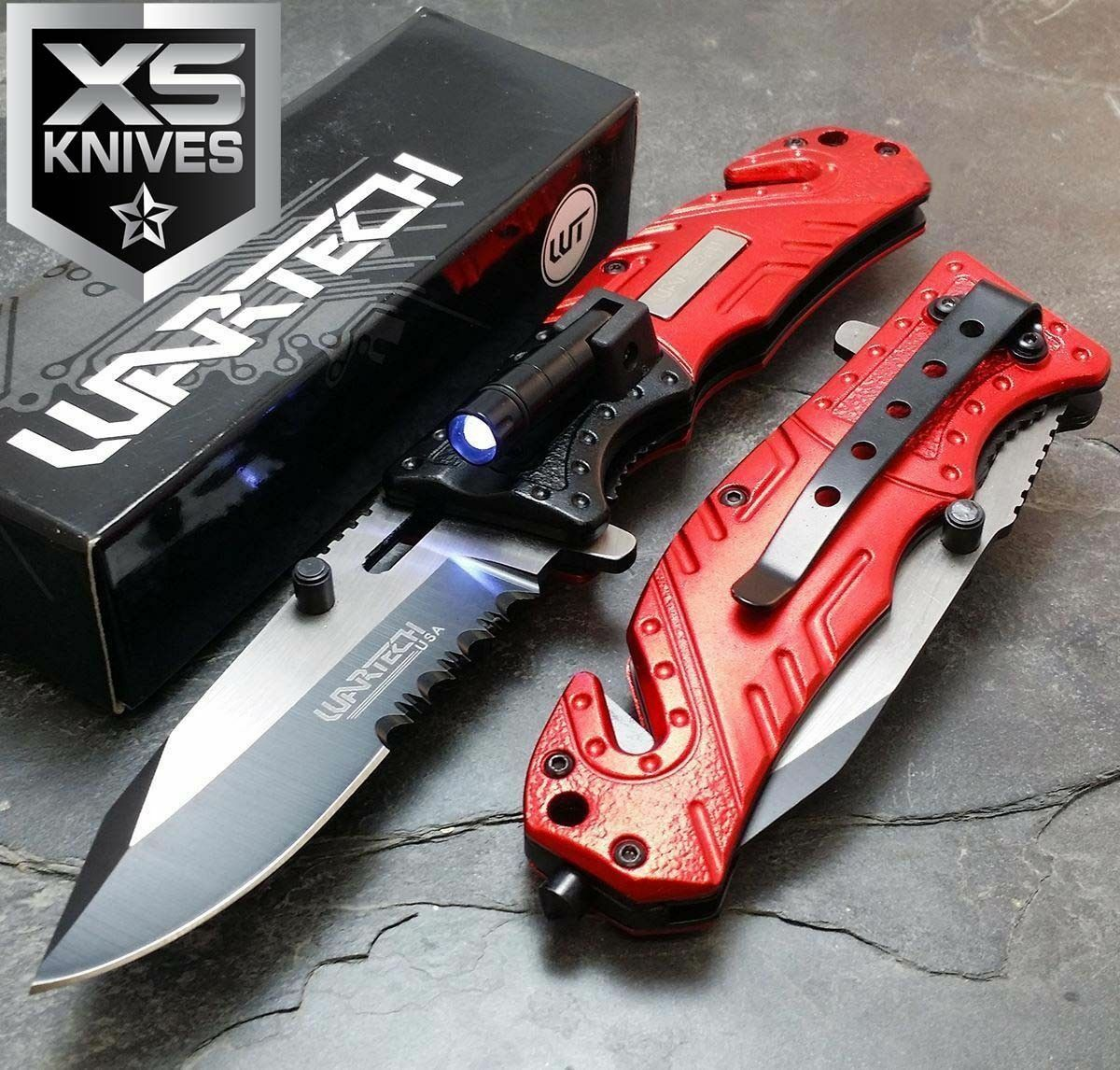 Multi Tool Red Spring Assisted Led Tactical Rescue Pocket