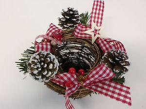Weihnachtsdeko Weidenkorb Advent Tischdeko Weihnachten Rot Braun