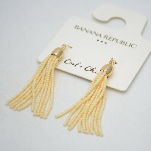 Banana Republic Jewelry Beaded Fringe Gold Tone Hoop Goutte Dangle Tassel Boucles d/'oreilles
