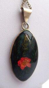 La Fourniture Pendentif Chaîne Bijou Vintage Argent 925 Mexico Fleur Séchée Sous Résine 2844