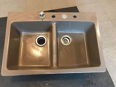 Rockland Dual Mount Granite 33 in 1-Hole Single Bowl Kitchen Sink Mocha