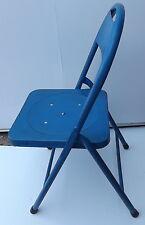 Sedia pieghevole Vintage in ferro metallo anni 70  Blu cm 84hx40 BAR originale