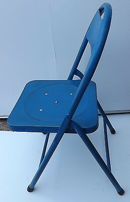 Folding Chair Vintage Iron Metal 70's Blue Cm 84hx40 Bar Original Possessing Chinese Flavors Chairs Furniture