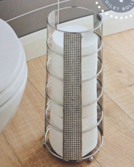 New Sparkling Crystal Diamante Detailed Chrome Toilet Roll Storage Tower/ Holder