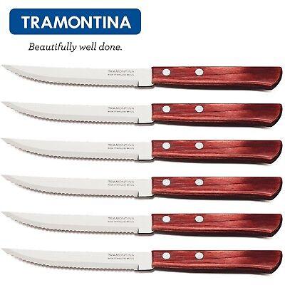 "TRAMONTINA Churrasco 5"" Steak Pizza Knives Set 6pcs.Grill BBQ Wooden Handle"