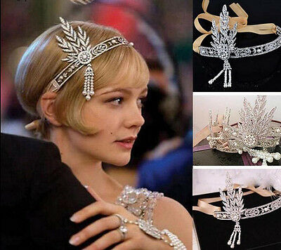 Hot Bridal Great Gatsby 1920s Vintage Style Headpiece Pearls Charleston Headband