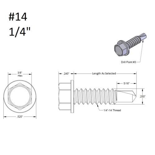 Hex Washer Head Self-Drilling Tapping Sheet Metal TEK Screw 410 Stainless Steel