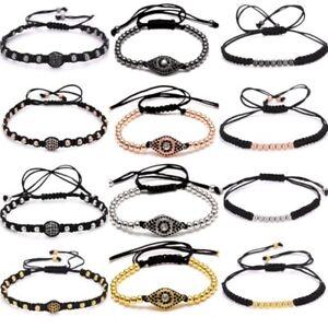 4mm-Eyes-Copper-Beads-Black-Rope-Handmade-Macrame-Bracelet-Bangle-Unisex-Jewelry