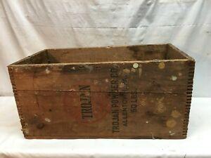 Vintage Danger High Explosives Wood Box Crate Trojan Brand Powder Co. Allentown