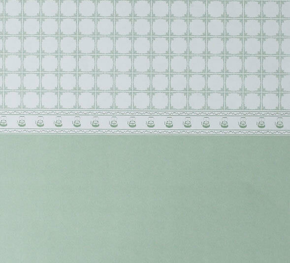 Dolls House Wallpaper - Teapot Tile Green PACK 3 SHEETS