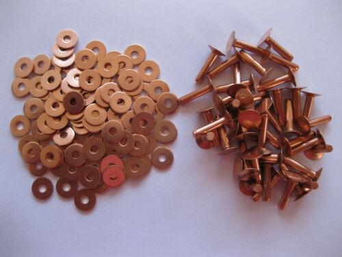 Copper saddlers rivets 10 Gauge x 1//4 with washers leather belt bag arts crafts