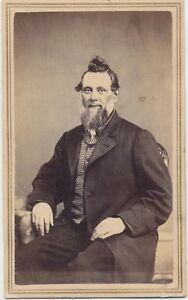 1860s-Antique-Cdv-Photo-Civil-War-Tax-Stamp-Gent-Nice-Beard-by-Hopkins-Albion-NY