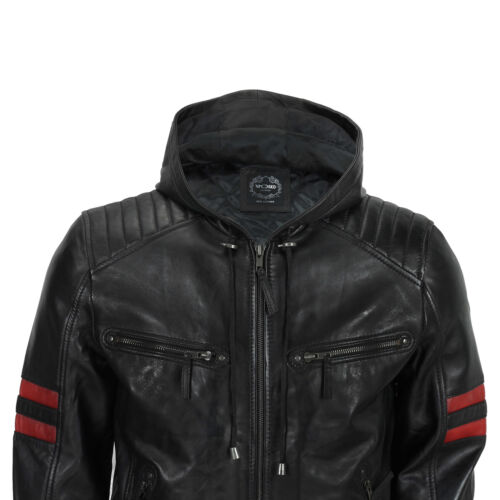 Mens Black Real Leather Bomber Jacket with Hood Vintage Smart Casual Biker Style