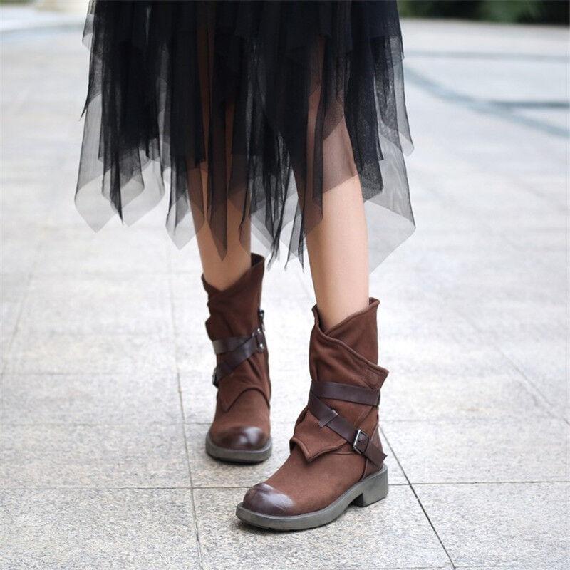Retro Wouomo Mid-Calf stivali Chunky Heels Suede Round Toe Winter Casual scarpe