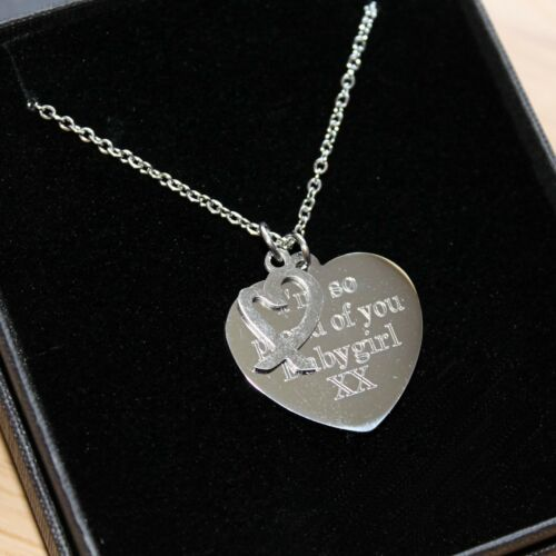 ENGRAVED Necklace Heart Charm Womans Girls Personalised Jewellery Birthday Gifts
