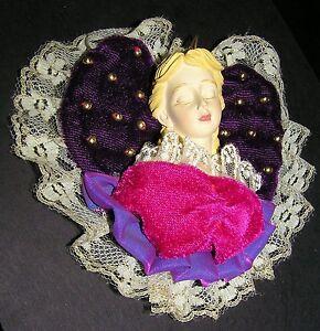 Retro-1980-s-Hand-Painted-Sleeping-Beauty-Lady-Angel-Purple-Heart-Pillow-Resin