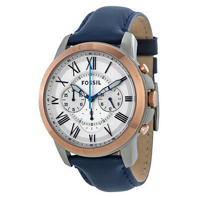 Fossil Grant Chronograph White Dial Black Leather Mens Watch FS4930