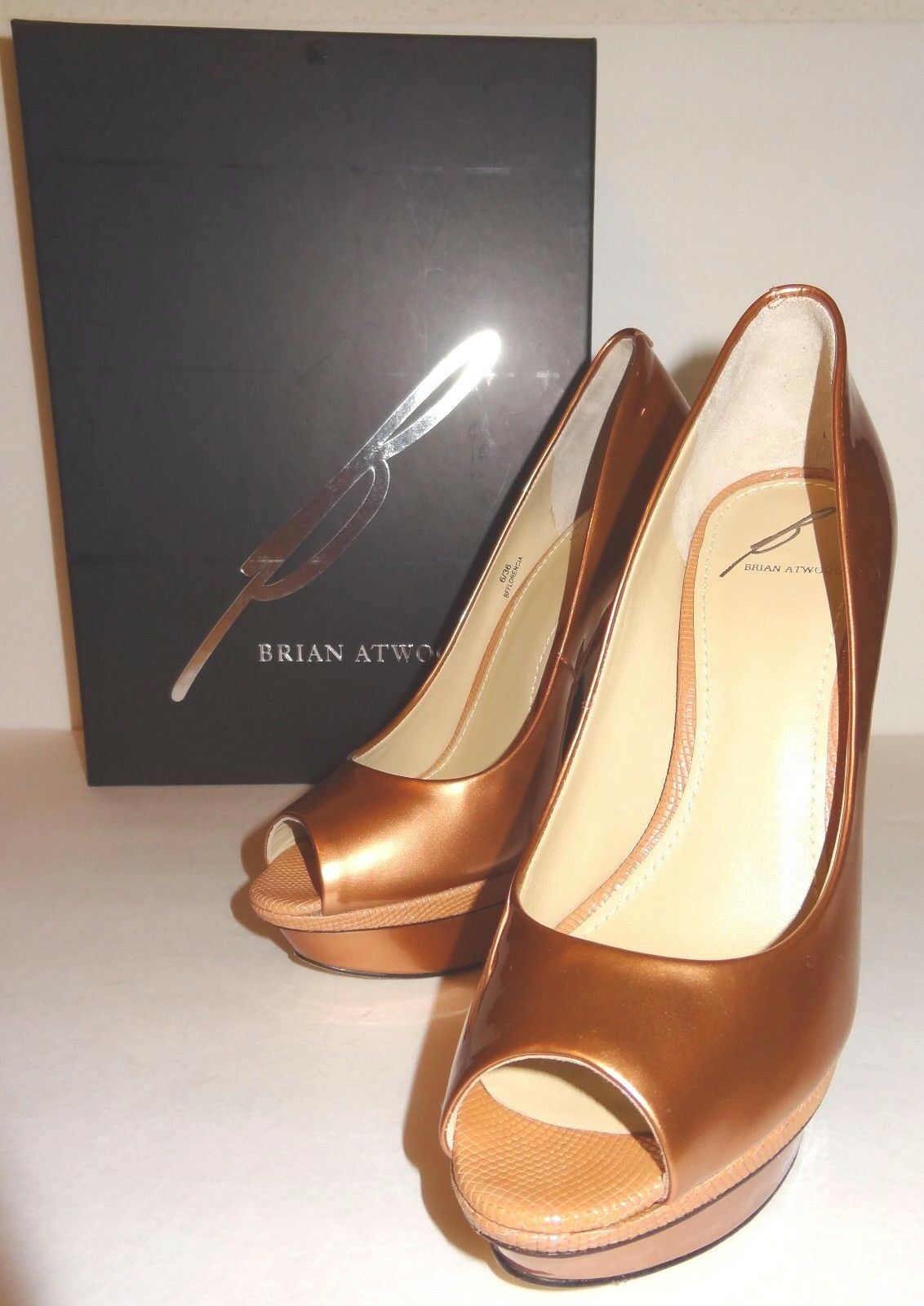 New BRIAN Sexy ATWOOD Florencia Bronze metallic Patent Platform Pump Sexy BRIAN Heels 36 6 75adf9